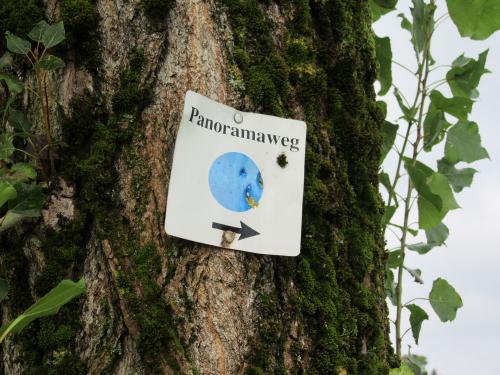 Der Panoramawanderweg ist mit einem blauen Punkt gekennzeichnet